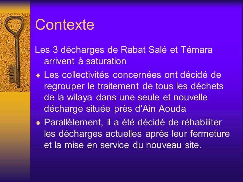 Contexte Les 3 décharges de Rabat Salé et Témara arrivent à saturation Les collectivités concernées ont décidé de regrouper le traitement de tous les
