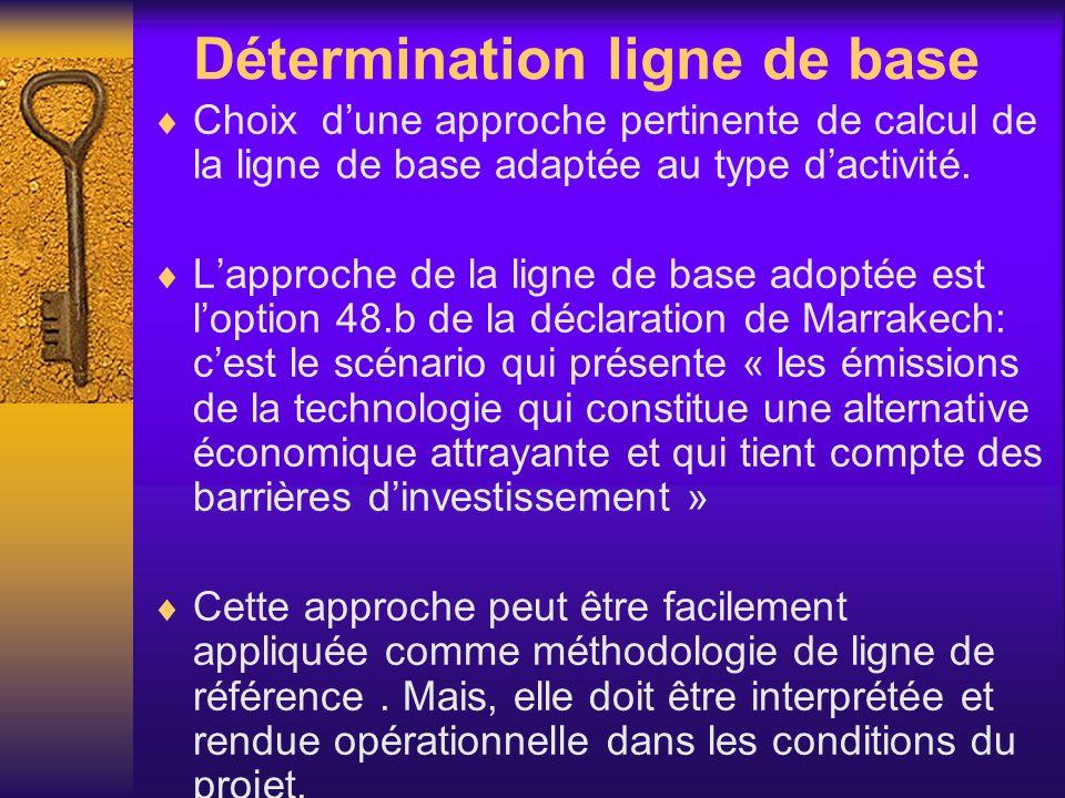 Détermination ligne de base Choix dune approche pertinente de calcul de la ligne de base adaptée au type dactivité. Lapproche de la ligne de base adop