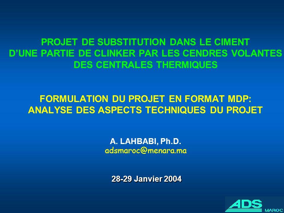 28-29 Janvier 2004 PROJET DE SUBSTITUTION DANS LE CIMENT DUNE PARTIE DE CLINKER PAR LES CENDRES VOLANTES DES CENTRALES THERMIQUES FORMULATION DU PROJE
