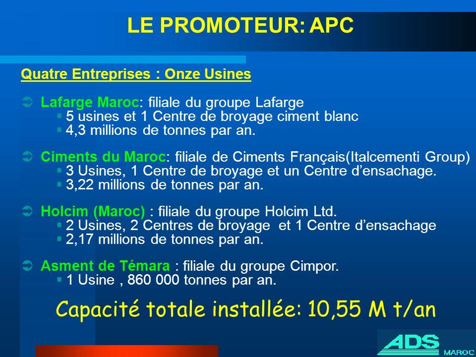 Quatre Entreprises : Onze Usines Lafarge Maroc: filiale du groupe Lafarge 5 usines et 1 Centre de broyage ciment blanc 4,3 millions de tonnes par an.