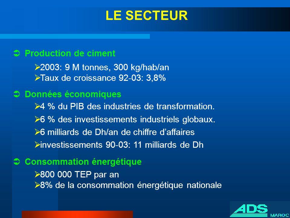 Production de ciment 2003: 9 M tonnes, 300 kg/hab/an Taux de croissance 92-03: 3,8% Données économiques 4 % du PIB des industries de transformation. 6