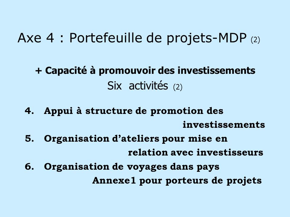 Axe 4 : Portefeuille de projets-MDP (2) + Capacité à promouvoir des investissements Six activités (2) 4.Appui à structure de promotion des investissements 5.