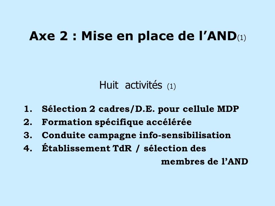 Axe 2 : Mise en place de lAND (1) Huit activités (1) 1.Sélection 2 cadres/D.E.