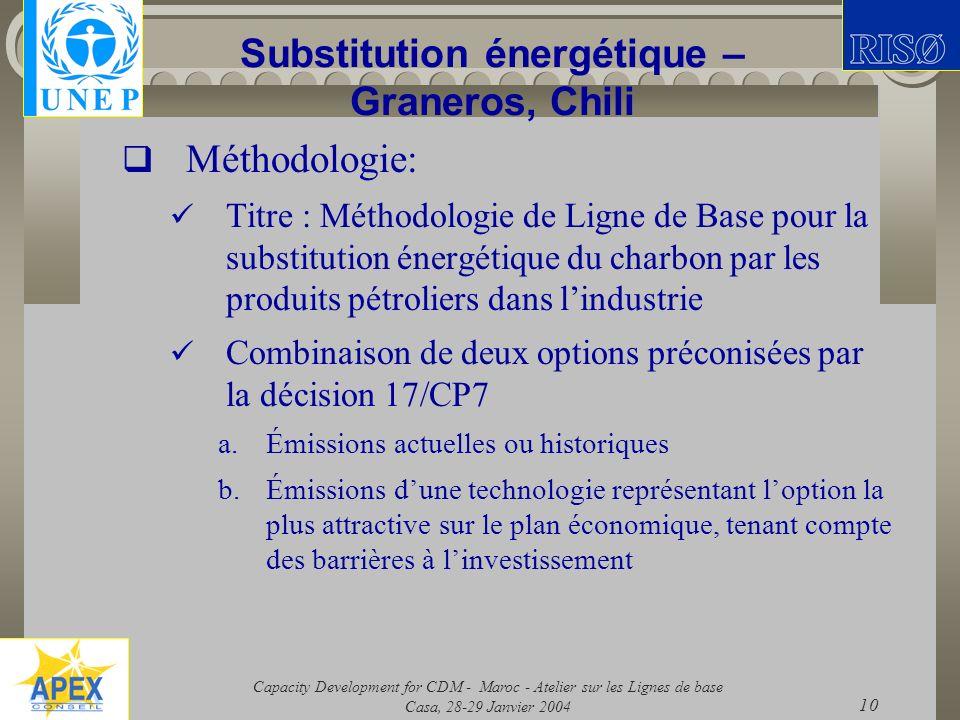 Capacity Development for CDM - Maroc - Atelier sur les Lignes de base Casa, 28-29 Janvier 2004 10 Substitution énergétique – Graneros, Chili Méthodolo