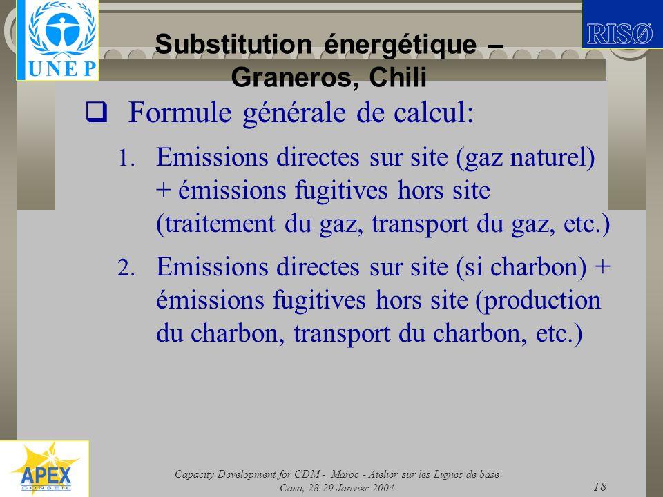 Capacity Development for CDM - Maroc - Atelier sur les Lignes de base Casa, 28-29 Janvier 2004 18 Substitution énergétique – Graneros, Chili Formule g