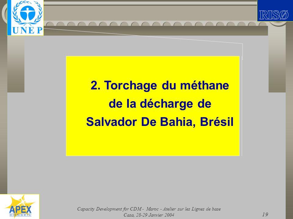 Capacity Development for CDM - Maroc - Atelier sur les Lignes de base Casa, 28-29 Janvier 2004 19 2. Torchage du méthane de la décharge de Salvador De