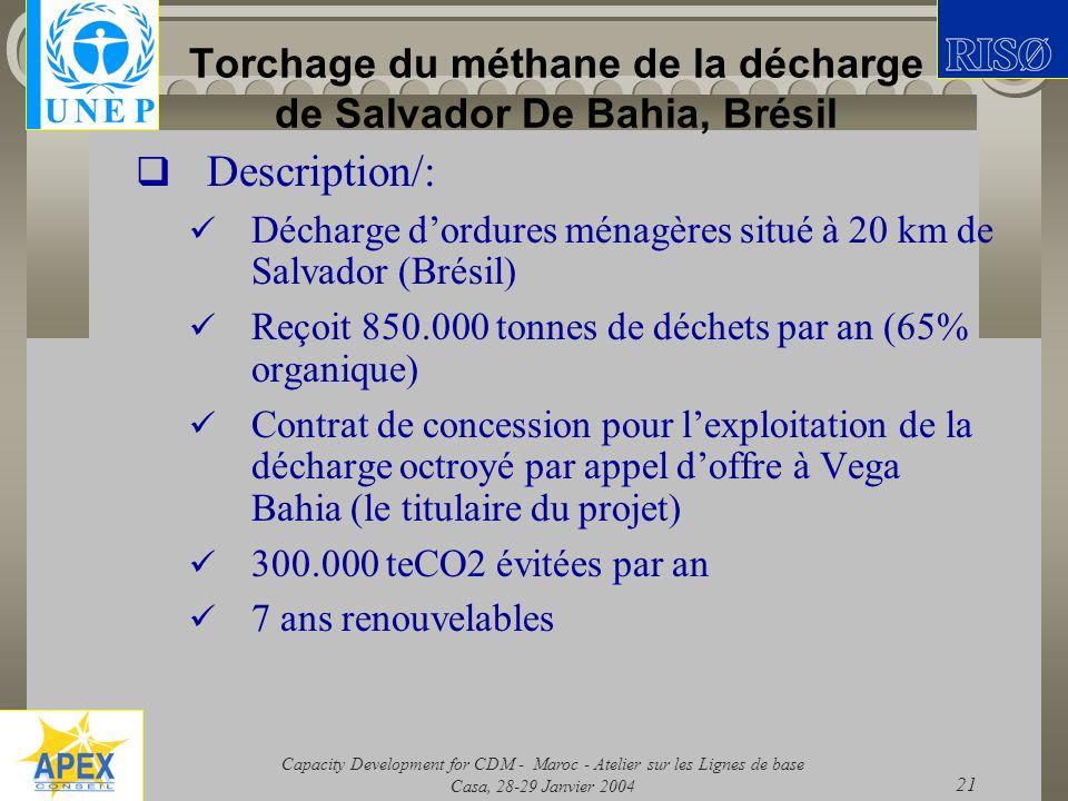 Capacity Development for CDM - Maroc - Atelier sur les Lignes de base Casa, 28-29 Janvier 2004 21 Torchage du méthane de la décharge de Salvador De Ba