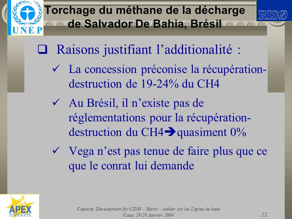 Capacity Development for CDM - Maroc - Atelier sur les Lignes de base Casa, 28-29 Janvier 2004 22 Torchage du méthane de la décharge de Salvador De Ba