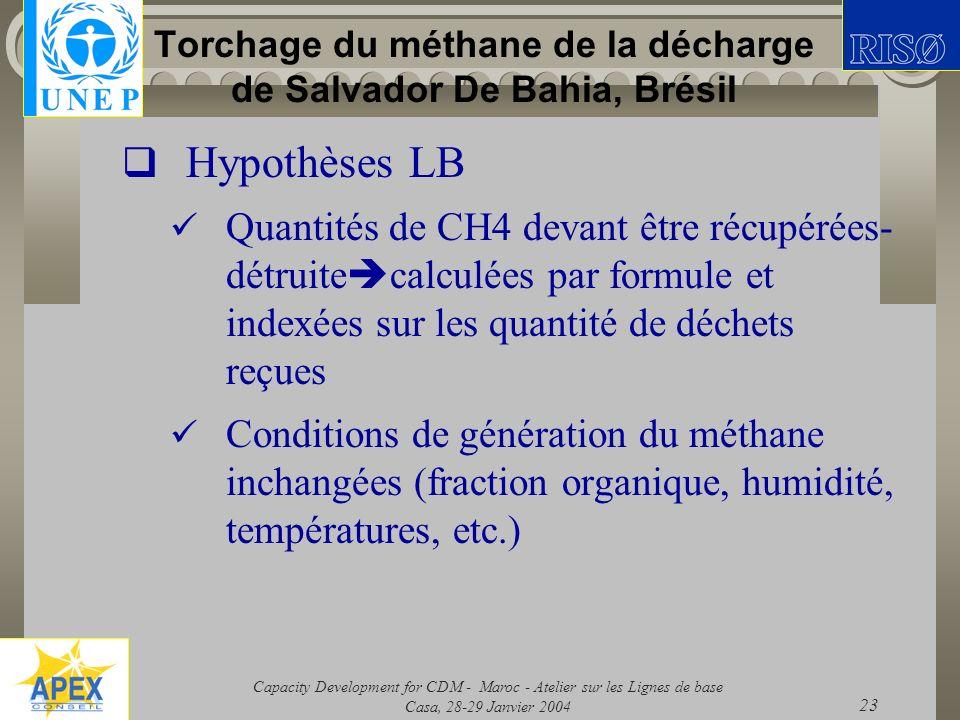 Capacity Development for CDM - Maroc - Atelier sur les Lignes de base Casa, 28-29 Janvier 2004 23 Torchage du méthane de la décharge de Salvador De Ba