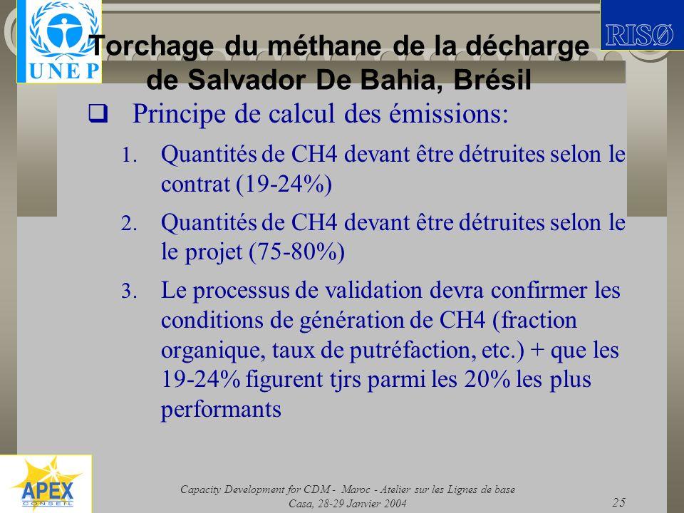 Capacity Development for CDM - Maroc - Atelier sur les Lignes de base Casa, 28-29 Janvier 2004 25 Torchage du méthane de la décharge de Salvador De Ba