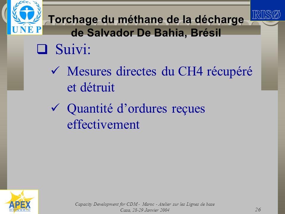Capacity Development for CDM - Maroc - Atelier sur les Lignes de base Casa, 28-29 Janvier 2004 26 Torchage du méthane de la décharge de Salvador De Ba