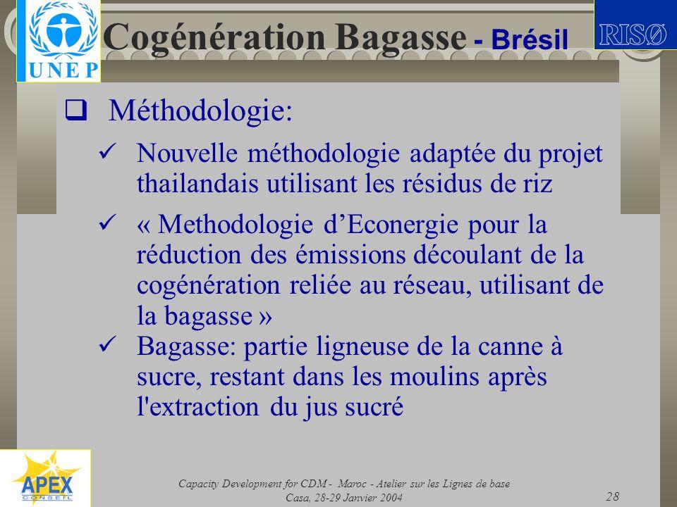 Capacity Development for CDM - Maroc - Atelier sur les Lignes de base Casa, 28-29 Janvier 2004 28 Cogénération Bagasse - Brésil Méthodologie: Nouvelle