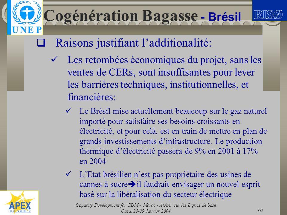 Capacity Development for CDM - Maroc - Atelier sur les Lignes de base Casa, 28-29 Janvier 2004 30 Cogénération Bagasse - Brésil Raisons justifiant lad