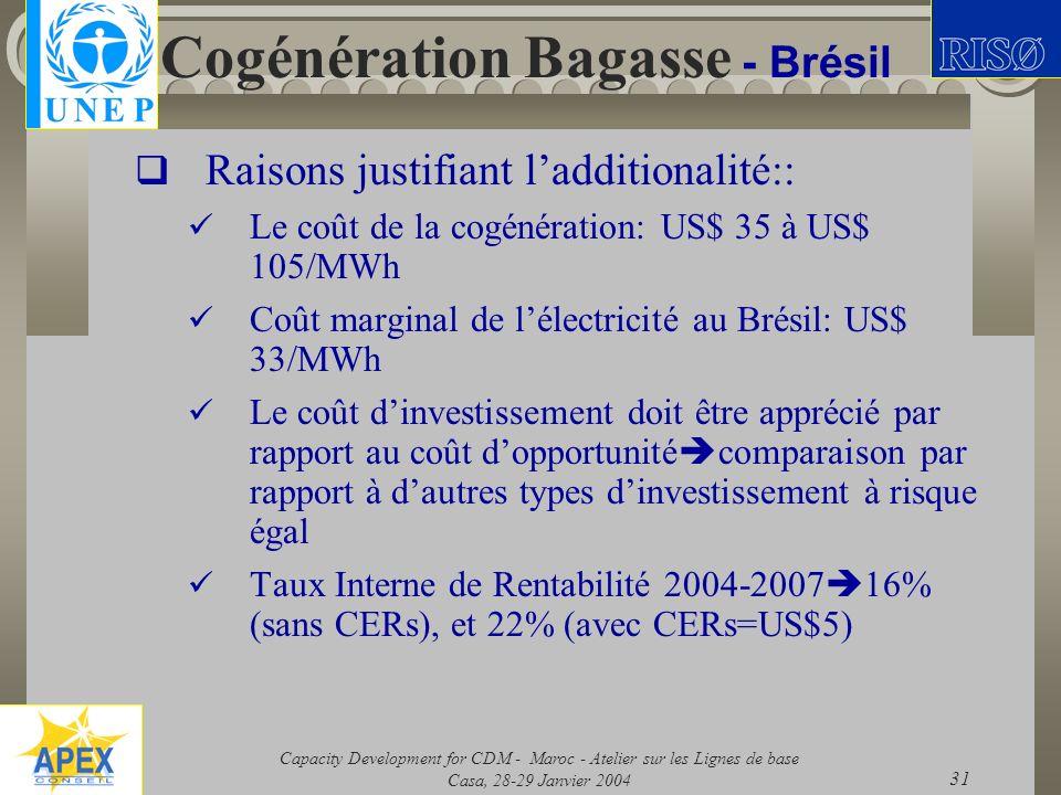 Capacity Development for CDM - Maroc - Atelier sur les Lignes de base Casa, 28-29 Janvier 2004 31 Cogénération Bagasse - Brésil Raisons justifiant lad