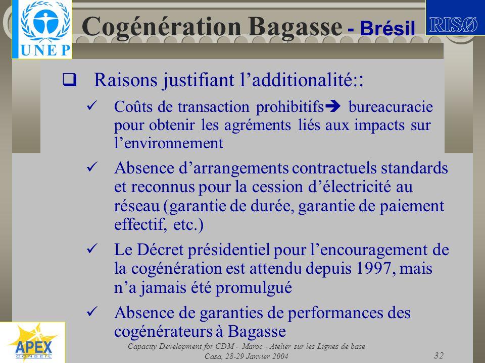 Capacity Development for CDM - Maroc - Atelier sur les Lignes de base Casa, 28-29 Janvier 2004 32 Cogénération Bagasse - Brésil Raisons justifiant lad