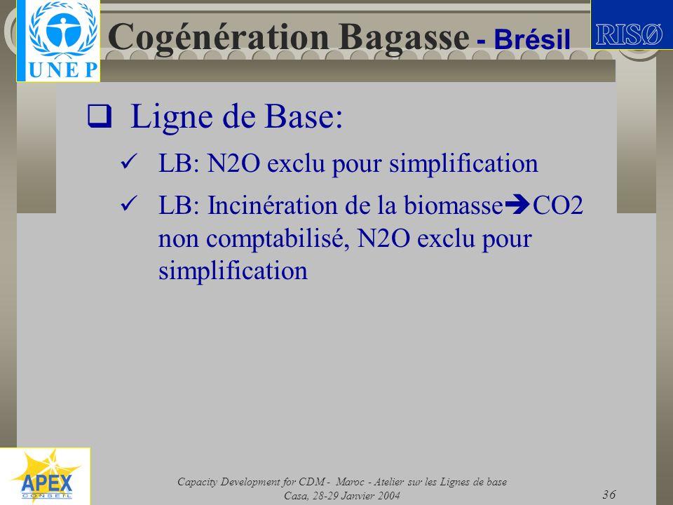 Capacity Development for CDM - Maroc - Atelier sur les Lignes de base Casa, 28-29 Janvier 2004 36 Cogénération Bagasse - Brésil Ligne de Base: LB: N2O