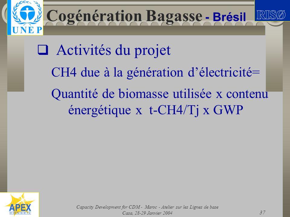 Capacity Development for CDM - Maroc - Atelier sur les Lignes de base Casa, 28-29 Janvier 2004 37 Cogénération Bagasse - Brésil Activités du projet CH