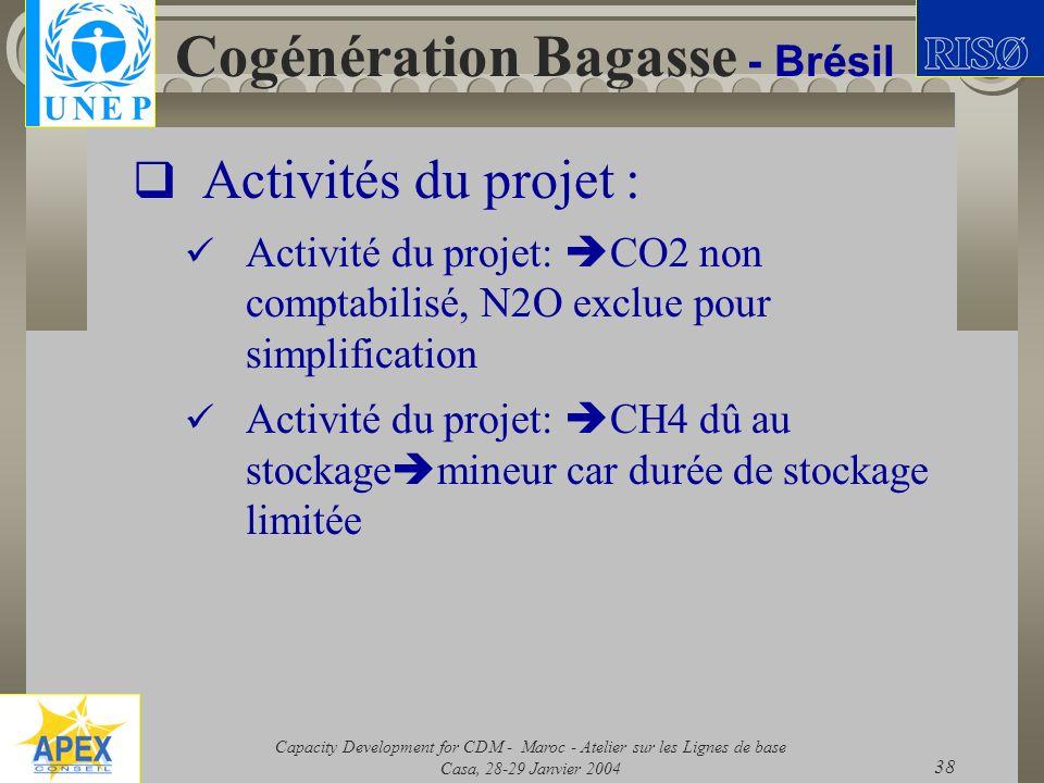 Capacity Development for CDM - Maroc - Atelier sur les Lignes de base Casa, 28-29 Janvier 2004 38 Cogénération Bagasse - Brésil Activités du projet :