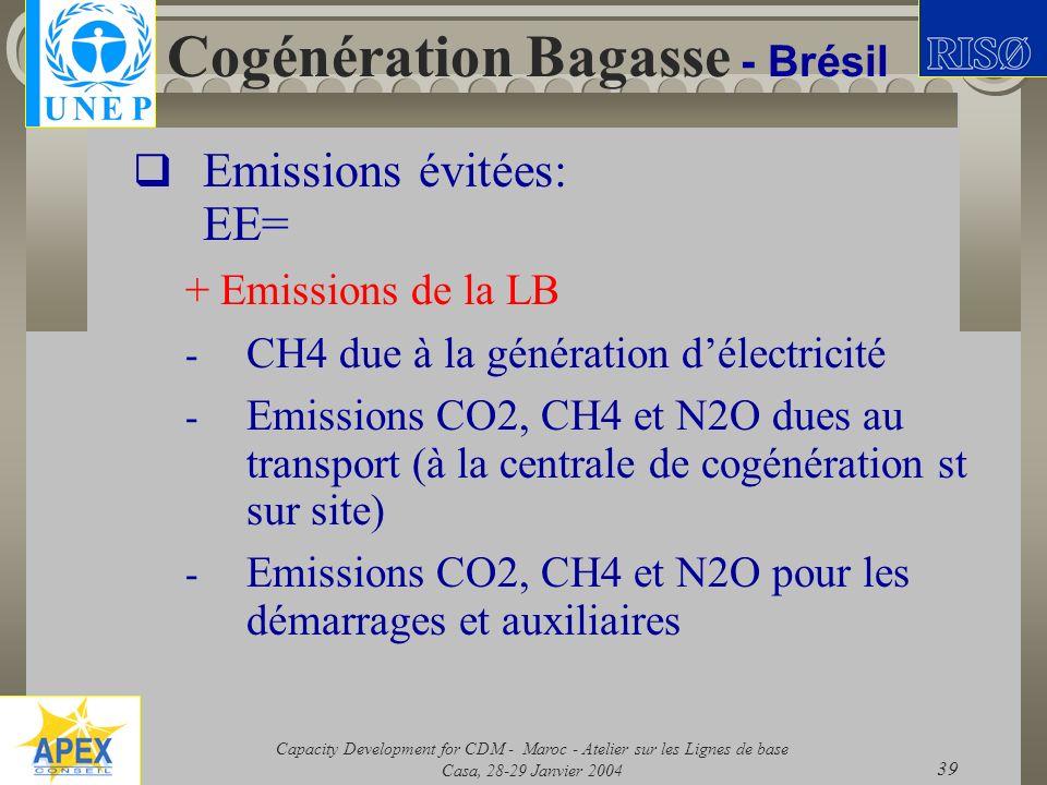 Capacity Development for CDM - Maroc - Atelier sur les Lignes de base Casa, 28-29 Janvier 2004 39 Cogénération Bagasse - Brésil Emissions évitées: EE=