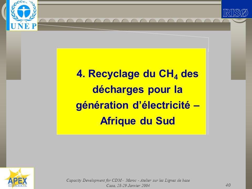 Capacity Development for CDM - Maroc - Atelier sur les Lignes de base Casa, 28-29 Janvier 2004 40 4. Recyclage du CH 4 des décharges pour la génératio