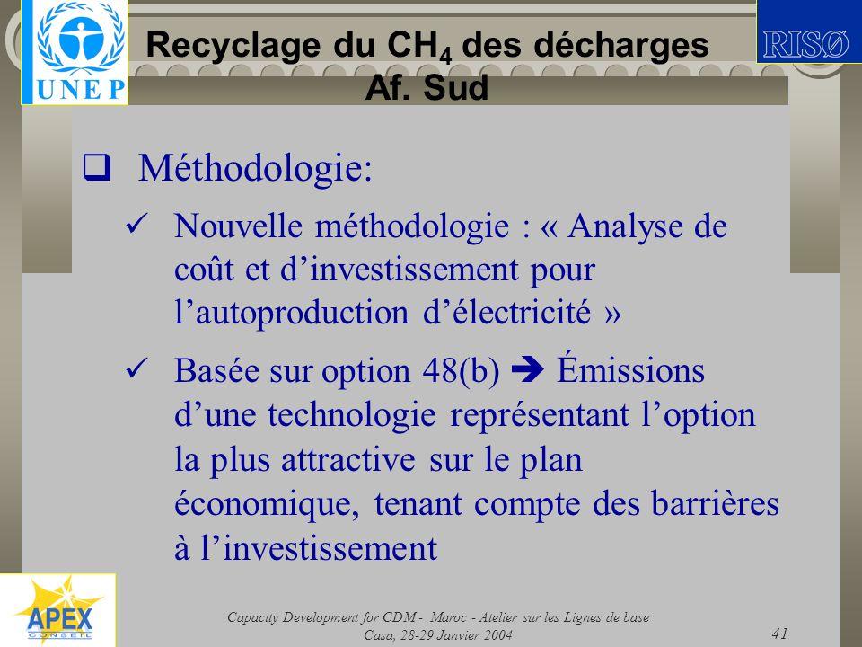 Capacity Development for CDM - Maroc - Atelier sur les Lignes de base Casa, 28-29 Janvier 2004 41 Recyclage du CH 4 des décharges Af. Sud Méthodologie