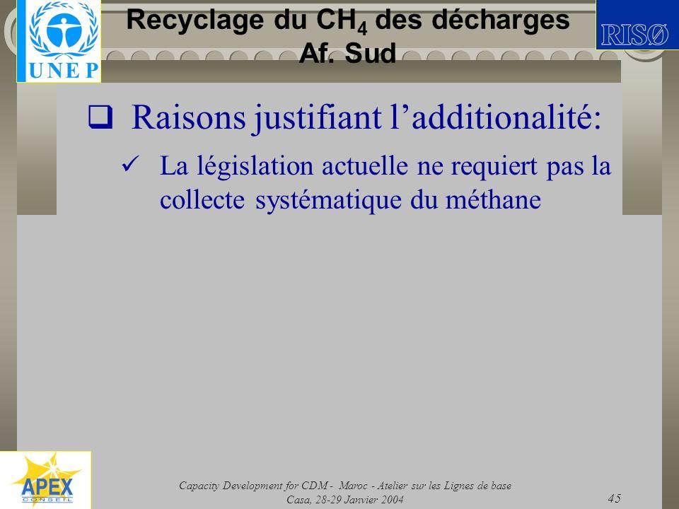 Capacity Development for CDM - Maroc - Atelier sur les Lignes de base Casa, 28-29 Janvier 2004 45 Recyclage du CH 4 des décharges Af. Sud Raisons just