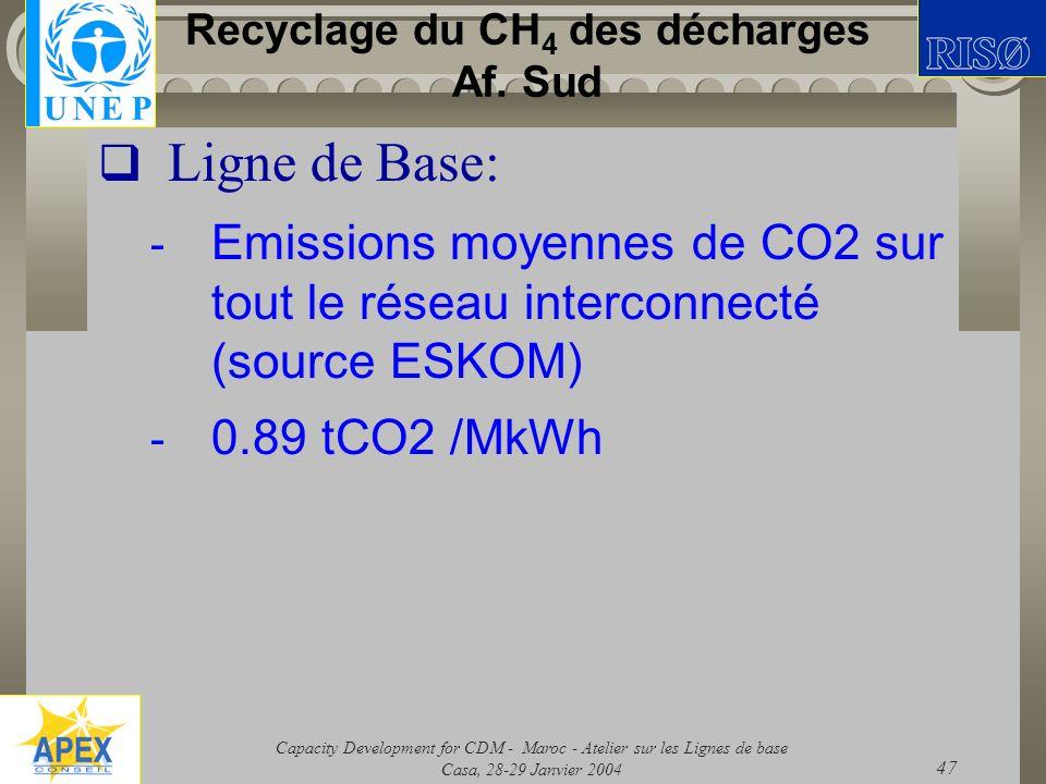 Capacity Development for CDM - Maroc - Atelier sur les Lignes de base Casa, 28-29 Janvier 2004 47 Recyclage du CH 4 des décharges Af. Sud Ligne de Bas