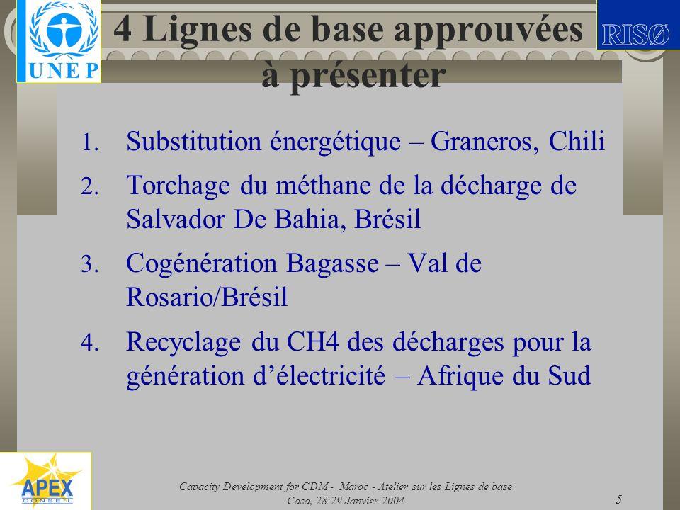Capacity Development for CDM - Maroc - Atelier sur les Lignes de base Casa, 28-29 Janvier 2004 5 4 Lignes de base approuvées à présenter 1. Substituti