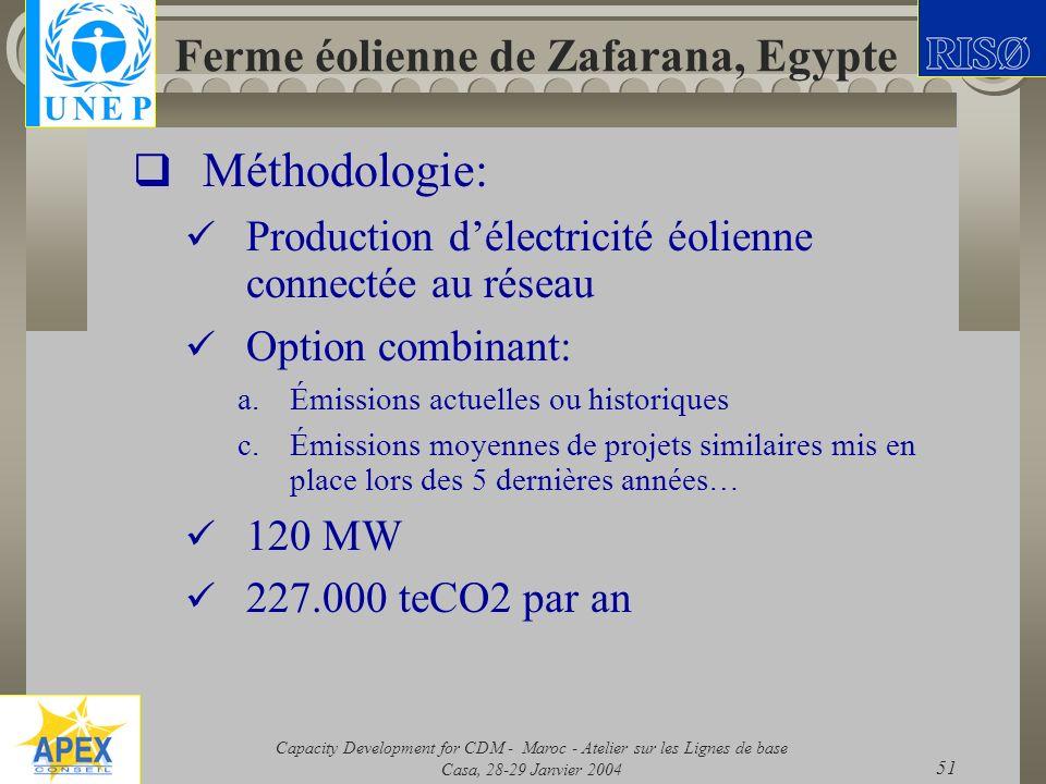 Capacity Development for CDM - Maroc - Atelier sur les Lignes de base Casa, 28-29 Janvier 2004 51 Ferme éolienne de Zafarana, Egypte Méthodologie: Pro