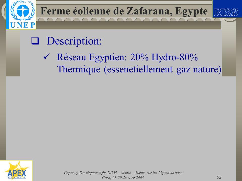 Capacity Development for CDM - Maroc - Atelier sur les Lignes de base Casa, 28-29 Janvier 2004 52 Ferme éolienne de Zafarana, Egypte Description: Rése