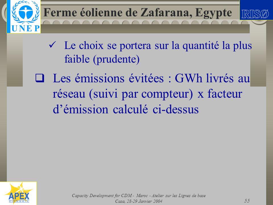 Capacity Development for CDM - Maroc - Atelier sur les Lignes de base Casa, 28-29 Janvier 2004 55 Ferme éolienne de Zafarana, Egypte Le choix se porte