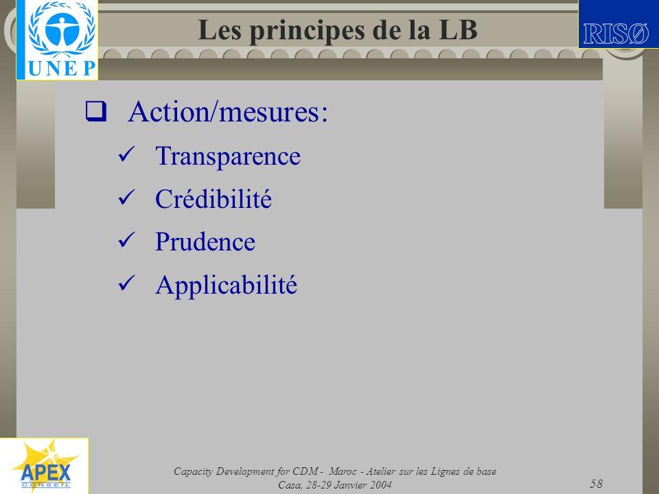 Capacity Development for CDM - Maroc - Atelier sur les Lignes de base Casa, 28-29 Janvier 2004 58 Les principes de la LB Action/mesures: Transparence