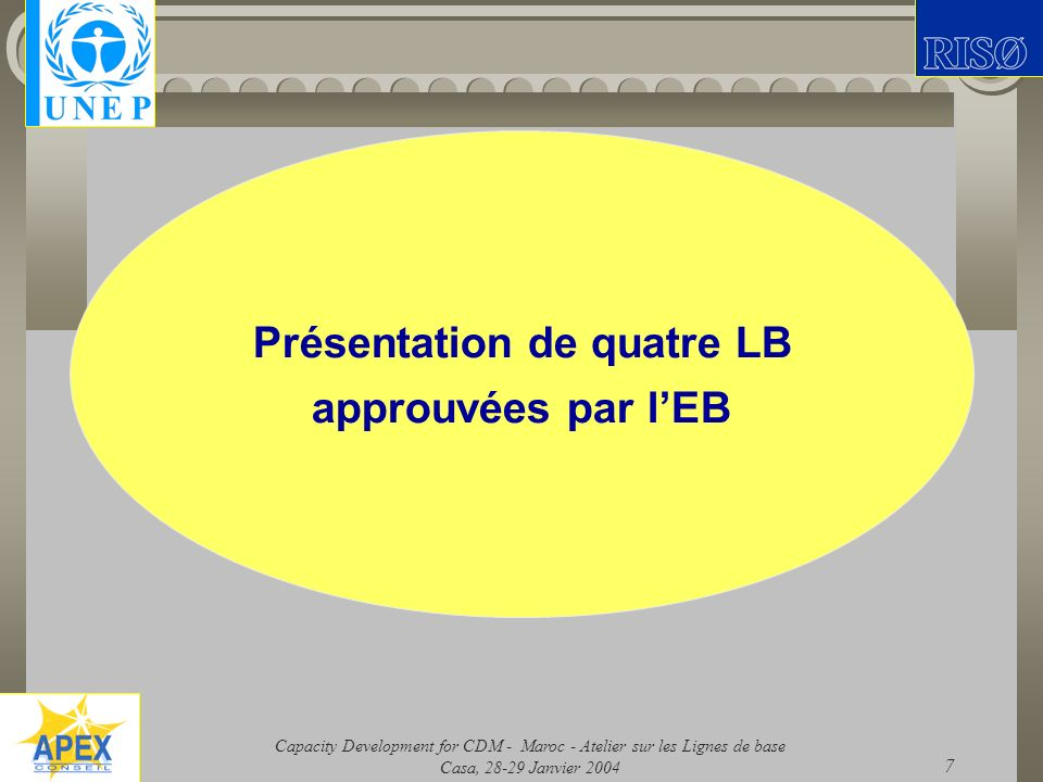 Capacity Development for CDM - Maroc - Atelier sur les Lignes de base Casa, 28-29 Janvier 2004 7 Présentation de quatre LB approuvées par lEB