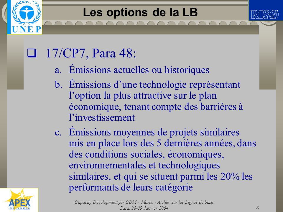 Capacity Development for CDM - Maroc - Atelier sur les Lignes de base Casa, 28-29 Janvier 2004 8 Les options de la LB 17/CP7, Para 48: a.Émissions act