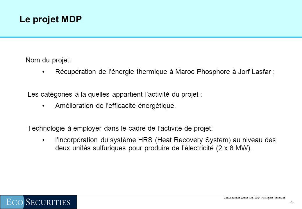 -0--0- EcoSecurities Group Ltd. 2004 All Rights Reserved EcoSecurities Group Ltd. Environmental Finance Solutions Cas détude : Project HRS de Jorf Las