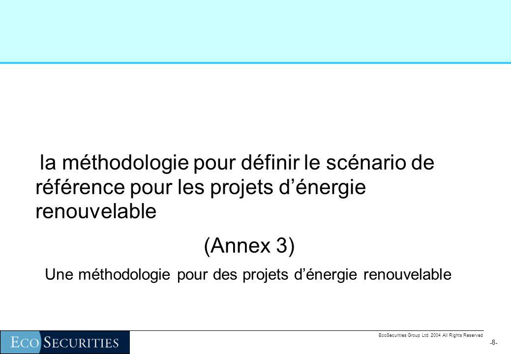 -8--8- la méthodologie pour définir le scénario de référence pour les projets dénergie renouvelable (Annex 3) Une méthodologie pour des projets dénergie renouvelable