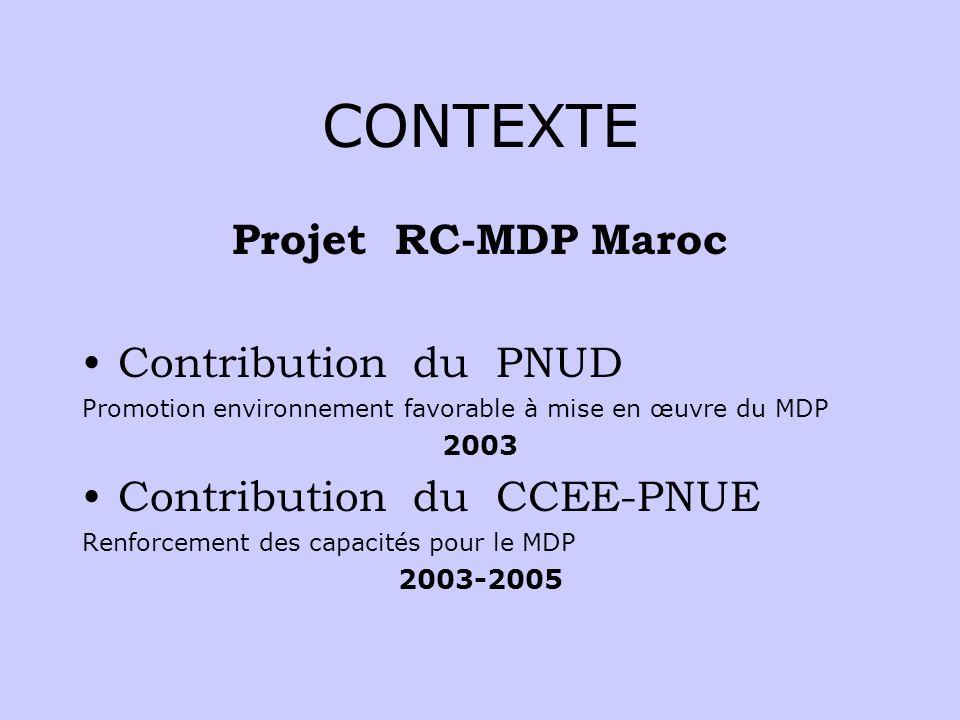 CONTEXTE Projet RC-MDP Maroc Contribution du PNUD Promotion environnement favorable à mise en œuvre du MDP 2003 Contribution du CCEE-PNUE Renforcement des capacités pour le MDP 2003-2005