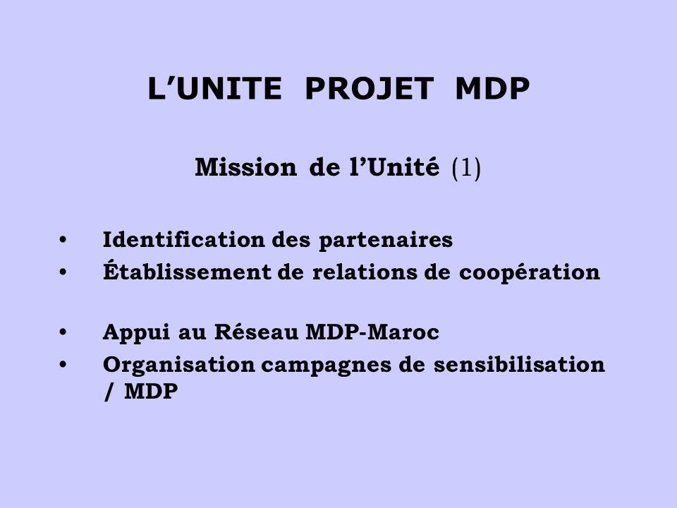 LUNITE PROJET MDP Mission de lUnité (1) Identification des partenaires Établissement de relations de coopération Appui au Réseau MDP-Maroc Organisation campagnes de sensibilisation / MDP