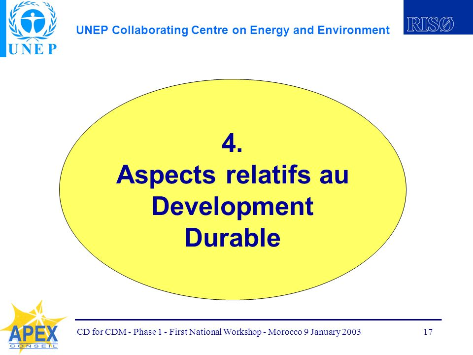 UNEP Collaborating Centre on Energy and Environment CD for CDM - Phase 1 - First National Workshop - Morocco 9 January 200317 4.