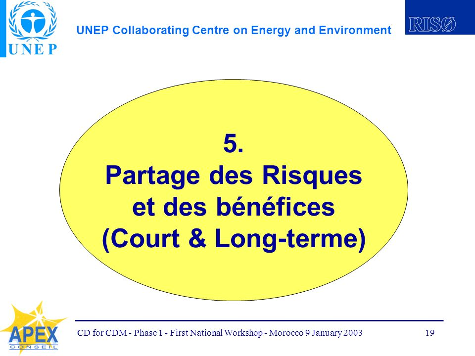 UNEP Collaborating Centre on Energy and Environment CD for CDM - Phase 1 - First National Workshop - Morocco 9 January 200319 5.