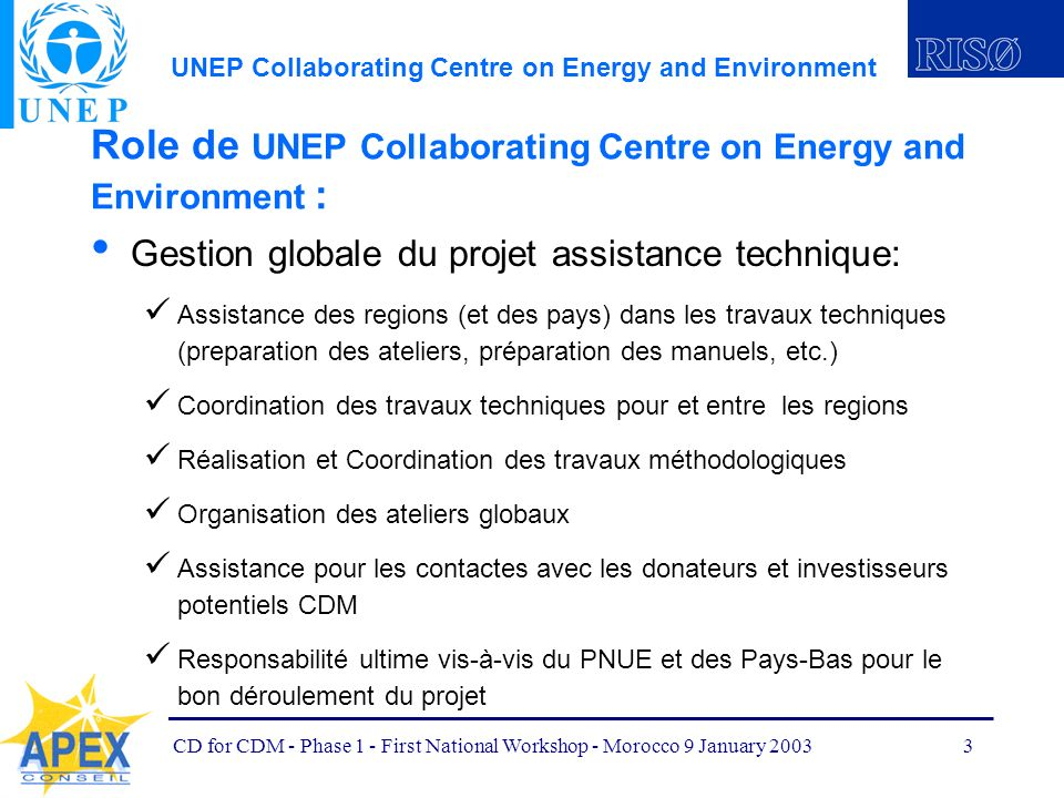 UNEP Collaborating Centre on Energy and Environment CD for CDM - Phase 1 - First National Workshop - Morocco 9 January 20033 Role de UNEP Collaboratin