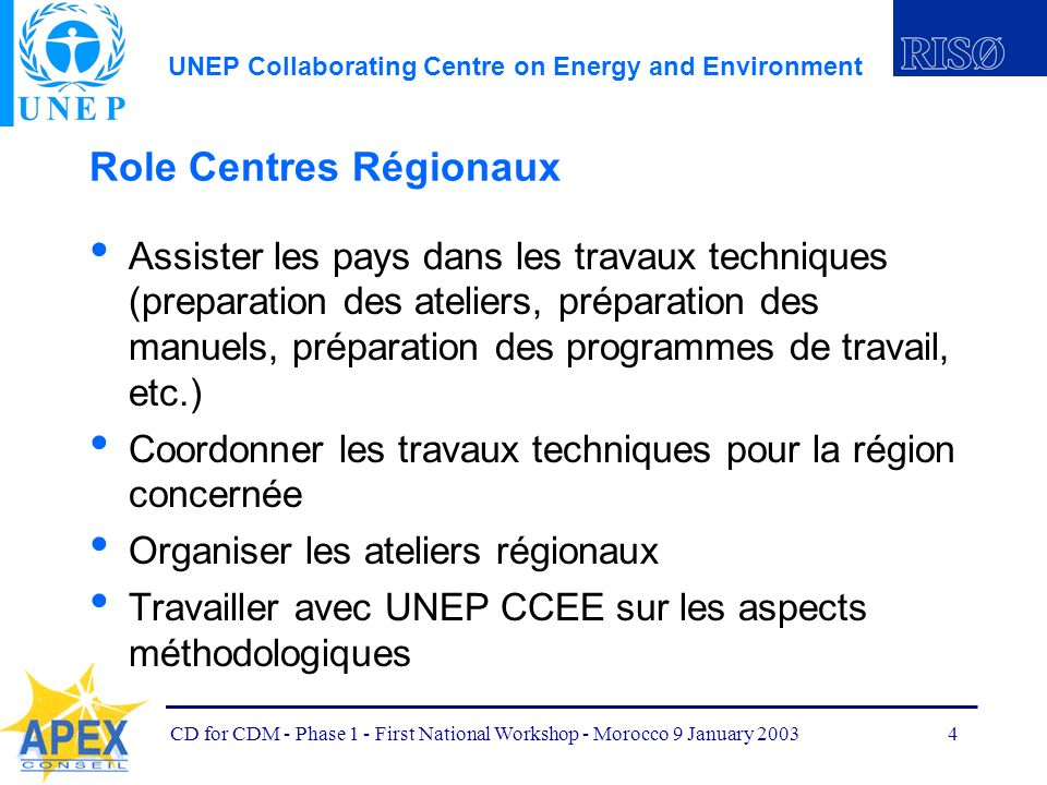 UNEP Collaborating Centre on Energy and Environment CD for CDM - Phase 1 - First National Workshop - Morocco 9 January 20034 Role Centres Régionaux As