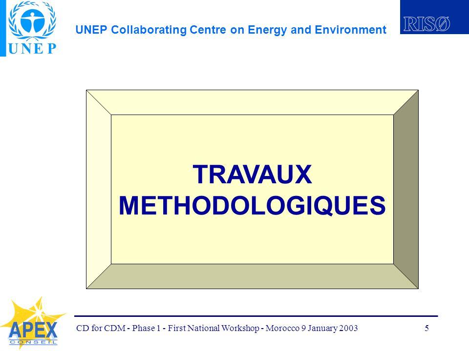 UNEP Collaborating Centre on Energy and Environment CD for CDM - Phase 1 - First National Workshop - Morocco 9 January 20036 OBJECTIFS: Développer des documents méthodologiques pouvant appuyer les étapes du cycle de projets MDP à utiliser par les équipes nationales, et par une audience internationale