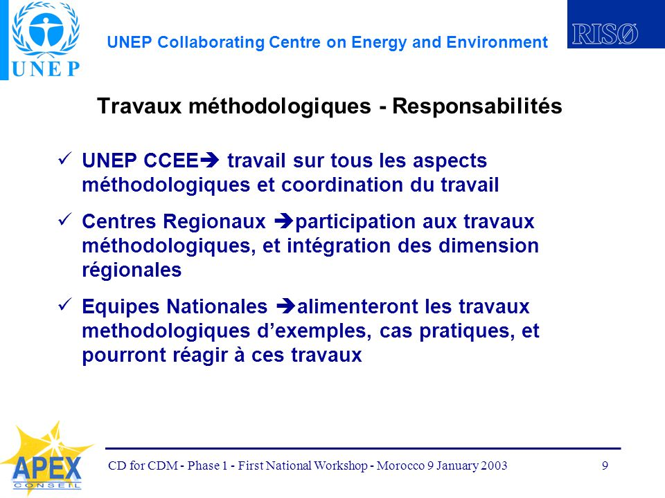 UNEP Collaborating Centre on Energy and Environment CD for CDM - Phase 1 - First National Workshop - Morocco 9 January 20039 Travaux méthodologiques -