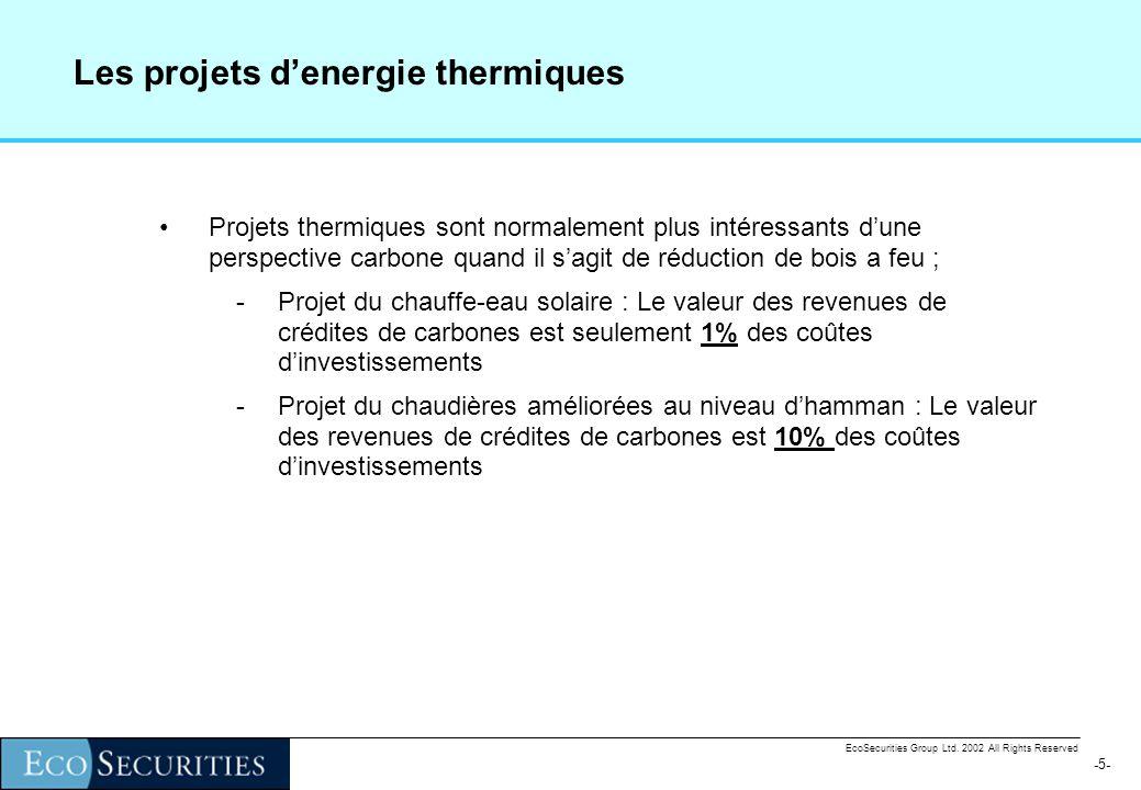 -4--4- EcoSecurities Group Ltd. 2002 All Rights Reserved Les projets de petite échelle dénergie thermique N° Intitulé Type Organisme Date de démarrag