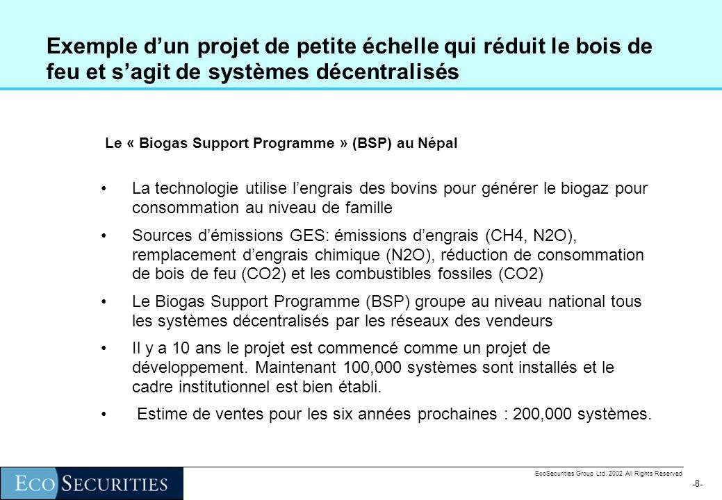 -7--7- EcoSecurities Group Ltd. 2002 All Rights Reserved Projets avec systèmes décentralisés Quand le projet MDP sagit des systèmes décentralisés, il