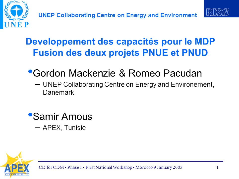 UNEP Collaborating Centre on Energy and Environment CD for CDM - Phase 1 - First National Workshop - Morocco 9 January 20031 Developpement des capacit