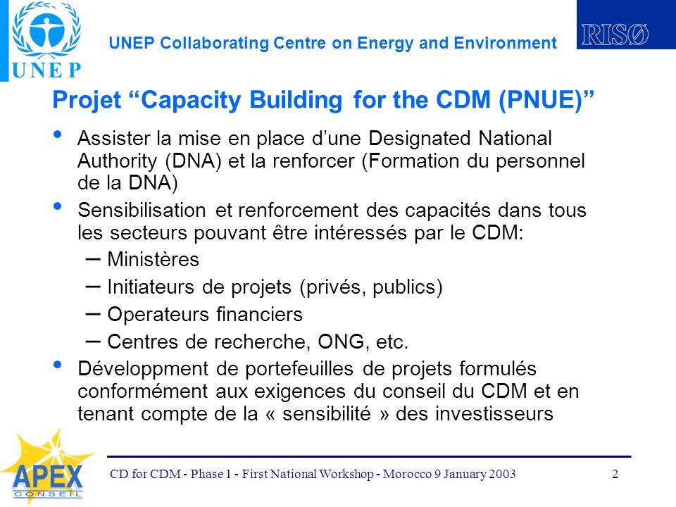 UNEP Collaborating Centre on Energy and Environment CD for CDM - Phase 1 - First National Workshop - Morocco 9 January 20033 Activités nationales pour le Maroc (PNUE) Phase 1 (jusquà décembre 2002) – Phase préparatoire – Développer un programme de travail et une organisation institutionnelle appropriée pour la phase 2 Phase 2 (années 2003 à 2005) 1.