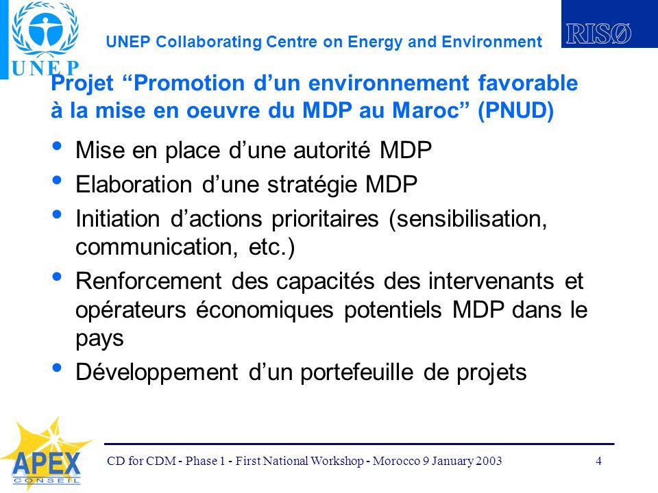 UNEP Collaborating Centre on Energy and Environment CD for CDM - Phase 1 - First National Workshop - Morocco 9 January 20035 Projet Promotion dun environnement favorable à la mise en oeuvre du MDP au Maroc (PNUD) Durée du projet : 1 an Date de clôture : Octobre 2003