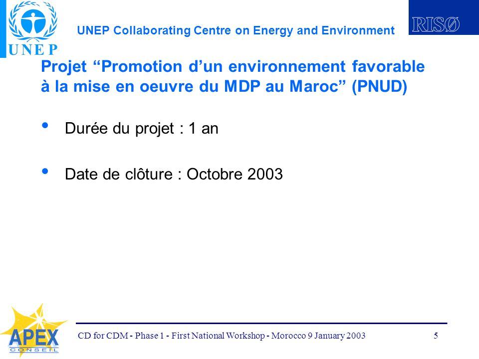 UNEP Collaborating Centre on Energy and Environment CD for CDM - Phase 1 - First National Workshop - Morocco 9 January 20036 Facteurs ayant rendu la fusion des deux projets nécessaire : Les deux projets démarrent simultanément Les deux projets contribuent aux mêmes objectifs Leurs axes dintervention sont similaires Plusieurs des activités des deux projets vont dans le même sens Plusieurs activités sont complémentaires et doivent nécessairement être bien synchronisées pour optimiser lutilisation des ressources
